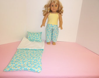 Fits American Girl Doll Aqua And Yellow Butterflies Sleeping Bag Pillow and Pajamas 141 Y