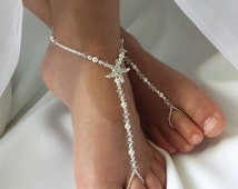 Kids Barefoot Sandals  Pearl Crystal & Silver Starfish Bridal Foot Wear Flower Girl Wedding  Jewelry Starfish Jewelry