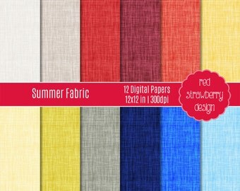 75% OFF Sale - Summer Fabric - 12 Digital Papers - Instant Download - JPG 12x12 (DP190)