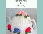 Knitting Pattern PDF Document Ann Vintage Roses Style Tea Pot Coffee DK Yarn Cosy by Knit Designer Adel Kay