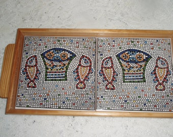 Wood and Tile serving tray,  Handmade tray with mosaic look tile of fish in many colors  Drink tray