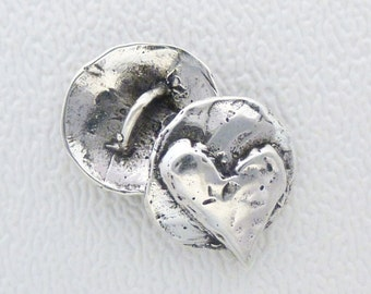 ONE Sterling Silver Artisan Button - UNTAMED HEART