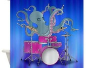Shower Curtain - Octopus Playing Drums - Blue, Red Or Green - Ornaart Design