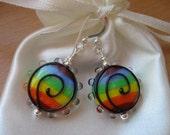 Rainbow Earrings, Rainbow Lampwork Earrings, Rainbow Glass Earrings, Colorful Earrings, Bright Earrings, Bold Earrings, Vibrant Earrings