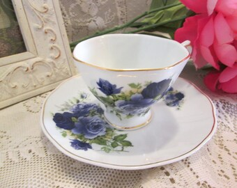 Blue Rose Tea Cup & Saucer