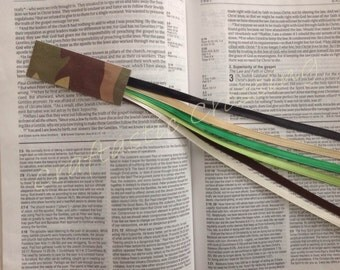 6 ribbon multi page bookmark Bible hardcover book CAMOUFLAGE hymnal religious