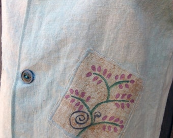 Hemp Linen Look Vest with Hand Painted Patches and Handmade Ceramic Buttons Wms Medium in Dusty Aqua