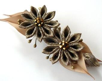 Kanzashi fabric flower hair clip. Brown  kanzashi. Brown  flower hair clip.