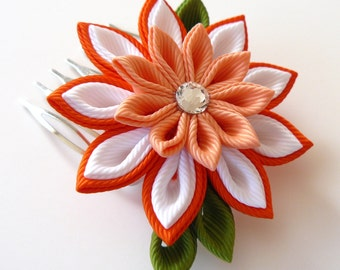 Kanzashi Fabric Flower hair comb . Orange kanzashi hair comb. Orange kanzashi.