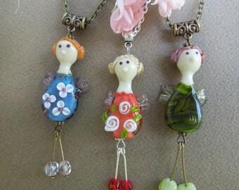 Guardian Angel, Talisman, Angel, Lampwork pendant, Glass pendant, Tilde, Angel tilde