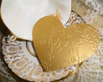 Victorian Lace Shimmer Valentine Heart Die cuts Set of 12