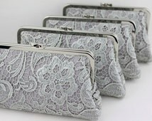Grey Lace Bridesmaid Clutches / Lace Wedding Clutches / Wedding Gift / Bridal Clutch Set - Set of 5