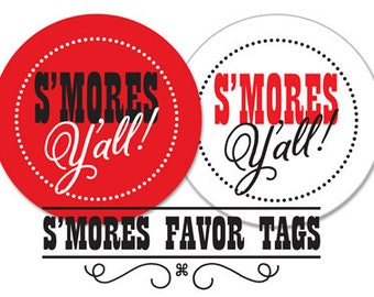 S'mores Favor Tags, Printable, INSTANT DOWNLOAD, 2 Color Variations, 2 Inch Round