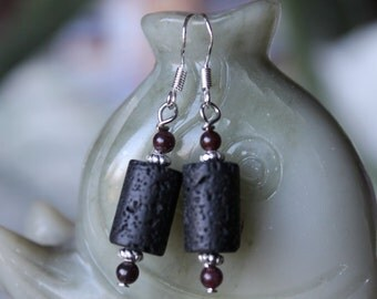 Black Lava with Red Garnet Earrings, sterling silver hook (free shipping in USA)