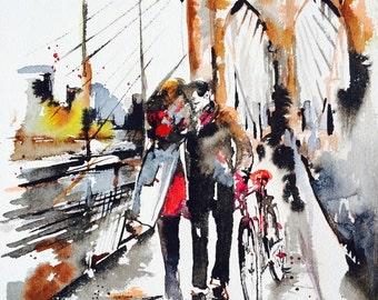 Brooklyn Bridge New York - Love Romance Travel Original Watercolor Painting - Series of Wanderlust - New York City