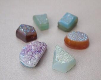 A Set of 5 PCS, Mixed Shapes Rainbow Druzy Briolettes
