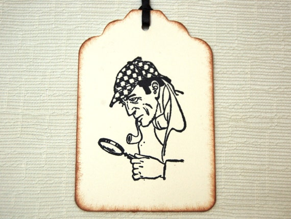 Sherlock Holmes Gift Tags -Set of 6 (w/ Pipe, Deerstalker Hat, and Magnifying Glass)