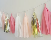 Peach, Coral  and Gold Tissue Tassel Garland - One Stylish Party
