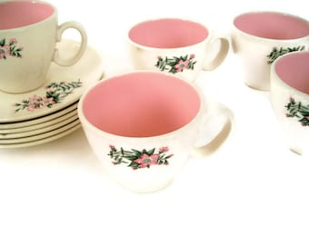 Mid Century Vintage- Taylor Smith Taylor- Cups and Saucers, Ever Yours, Lady Marguerite Pattern-Flowers-TST- Set of 5-Coffee Cup-Kitchen