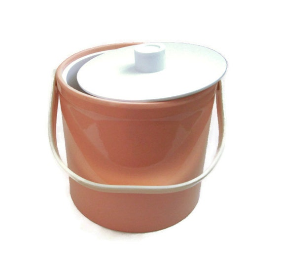 Retro Barware Ice Bucket Pink Peach Vinyl With White Mad