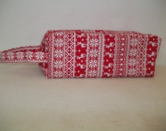 Box Bag / Project Bag great for knitting projects - Christmas Sweater in red and white