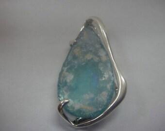 Exclusive Woman 925 Sterling Silver Pendant, Antique Roman Glass Pendant