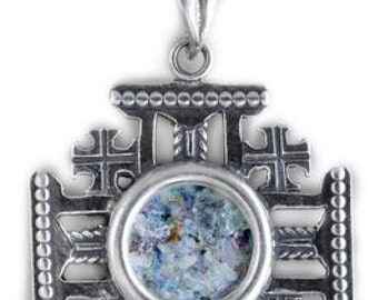 Unique 925 Sterling Silver Pendant, Ancient Roman Glass Pendant, Jerusalem Cross, Roman Glass Jewelry