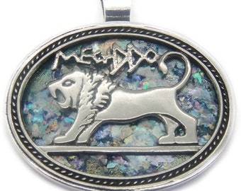 One Of A Kind 925 Sterling Silver Ancient Roman Glass Pendant Lion Of Judah
