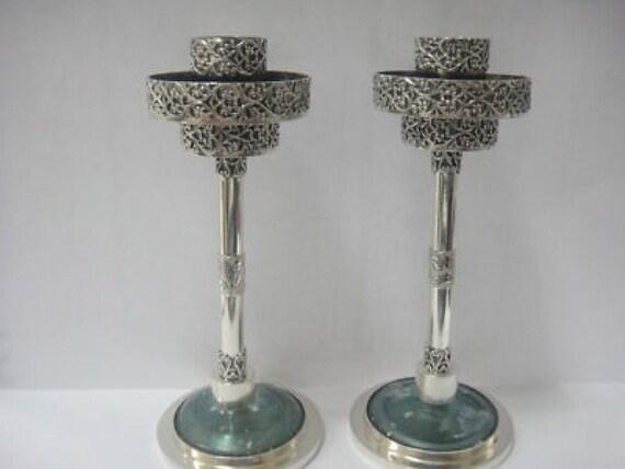 Beautiful 925 Sterling Silver Candlestick, Antique Roman Glass Candlestick Pair OOAK