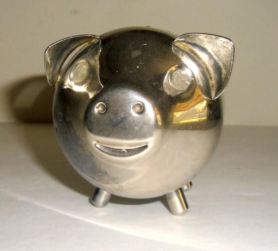 Vintage Chrome Piggy Bank, Collectible Raimond Piggy Bank, Vintage Silver Piggy Bank
