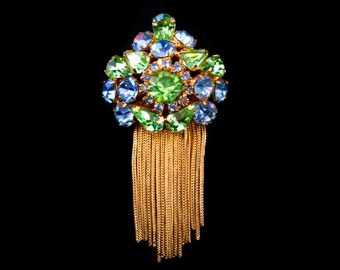Vintage Amazing Blue and Green Rhinestone Pendant with Gold Chains