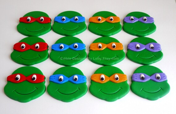Edible Fondant Teenage Mutant Ninja Turtles Inspired Cupcake Toppers