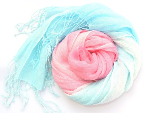 Pink and Turquoise Ombre Scarf handdyed degrade scarf