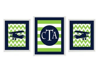 Vintage Airplane Nursery Art Chevron - Personalized - Navy Blue Green - Boy Room Biplane Flying - Wall Art Home Decor Set -
