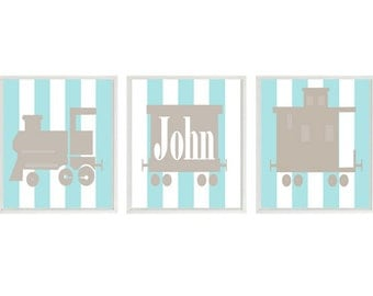 Train Art Print - Boy Nursery Art - Personalize Name -  Aqua Tan Decor - Choo Choo Railroad Transportation Wall Art Home Decor