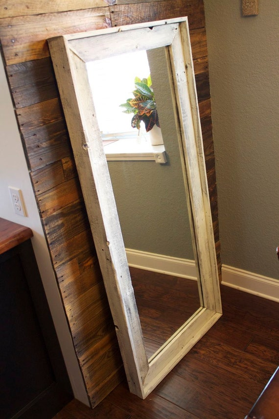 Items similar to full length mirror from reclaimed wood on for Full length window mirror