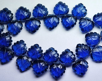 7 Inch Strand,Matched Pairs,Kyanite Blue Quartz Carving Faceted Heart Shape Briolettes,12mm