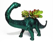 Up-cycled Glittery Emerald Green Apatosaurus Dinosaur Planter - With Succulent Plant