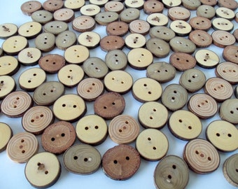 Wood Buttons - Branch Buttons - 100 Buttons - 5 Kind Tree Branch Buttons - 1 1/5  -  1 2/5 inches in diameter