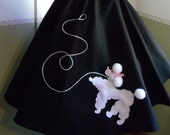 ADULT Woman's 1950s Style Black Felt POODLE SKIRT - Brand New Top Quality - Size 6-12