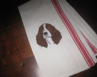 Embroidery Cocker-Spaniel on off white with red trim