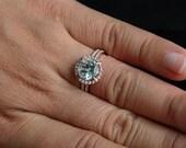 Aquamarine Bridal Ring Set in 14k Rose Gold with Aquamarine Round 9mm and Diamonds Wedding Band