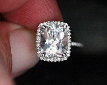 Cushion White Topaz Diamond Halo Ring 14k White Gold with White Topaz Cushion 11x9mm and Diamond Ring