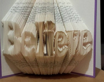 Folded Book Art - Believe - Made to Order