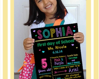 First day of school sign- Back to school-PDF Digital file