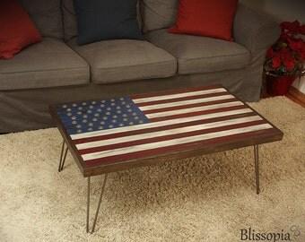 American Flag Coffee Table - Hairpin Legs, Reclaimed Wood