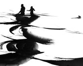 "Figure Water Ink Drawing Gothic Dark Shadow Silhouette Fine Art ""Immersion No. 21"""