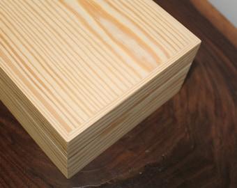 "Keepsake Wooden Box Groomsman Gift Cigar Box Jewelry Box UNFINISHED (9""x 6""x 3"" Hinged box. Unfinished)"