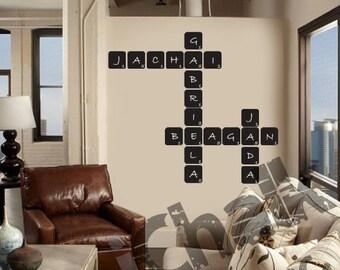 DIY Crossword puzzle Chalkboard Wall Decal for Home or Office - Blackboard Vinyl Chalk Blackboard Wall Decal Sticker Scramble Puzzle sticker