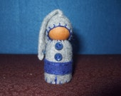 Lil Guy in a Blue Nightcap, Eco-Friendly, Waldorf Inspired,Wool and Wood Peg People, Dollhouse Doll, Nature Table